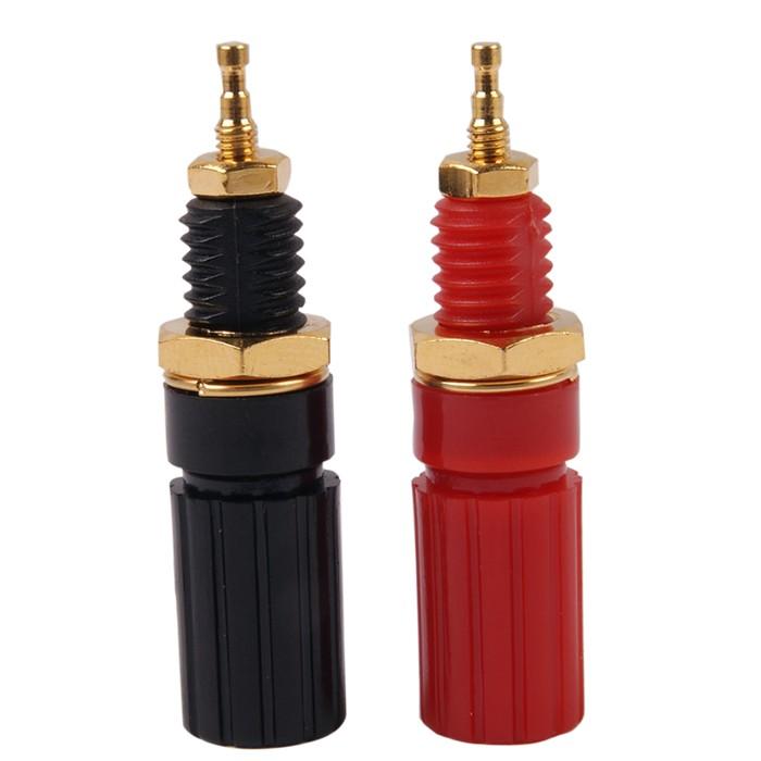 ELECAUDIO Borniers PVC 12mm pour amplificateur ou alimentation Plaqué Or (Pair)