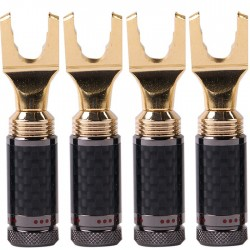 1877PHONO Spade Plug Carbon Gold Plated Ø5mm (Set x4)