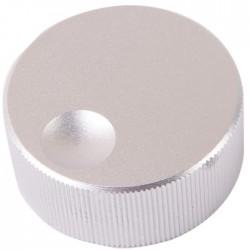 Bouton K010S Aluminium massif Argent 32×13mm pour Ø 6mm