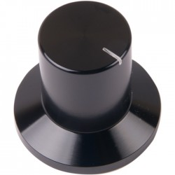 K022B Knob Solid Aluminum 30×18×28mm Ø6mm Black