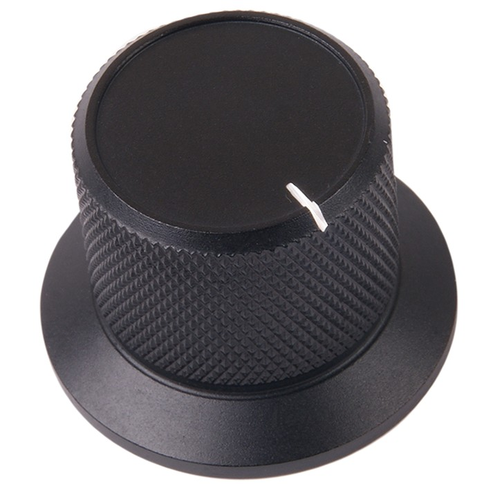 K026B Knob Solid Aluminium 38×28×25mm Ø6mm Black