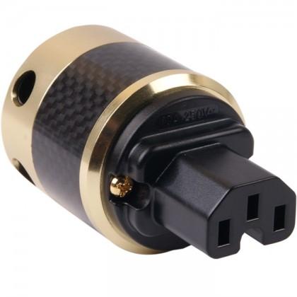 W&M Audio SK-02 CGG Prise IEC Carbon plaquée Or 24k Ø16mm