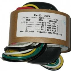 Transformateur R-CORE 30VA 2x15V + 2x9V