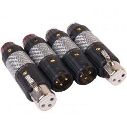 GAOFEI GF-FG020XLR Connecteurs XLR Mâle / Femelle 3 Pôles Plaqués Rhodium Ø11mm (Set x4)