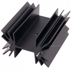 Heatsink Vertical TO-3P black anodized aluminum 42x25x50mm