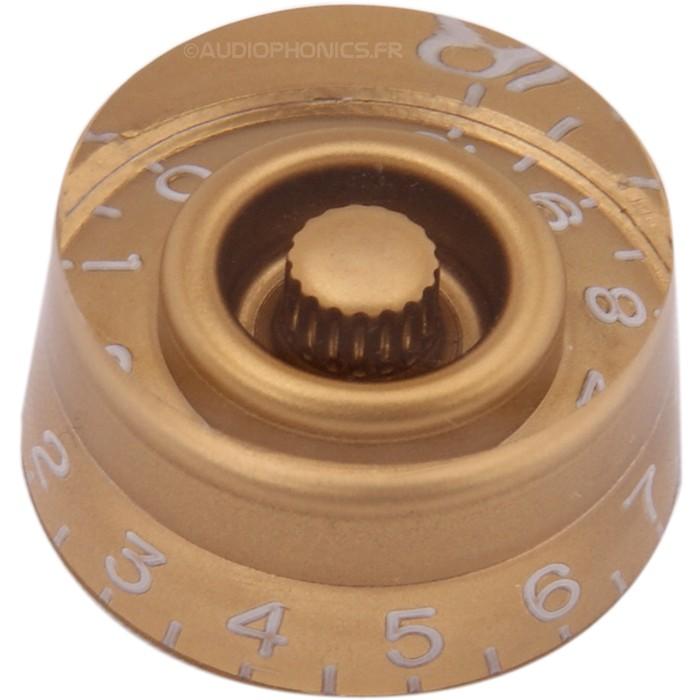 Knob Notched Shaft 26x25x13mm Ø6mm Gold