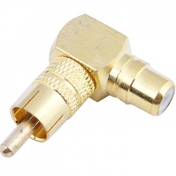 90 ° angled gold-plated RCA adapter