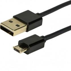 Câble USB-A Male /Micro USB-B Male 2.0 Blindé Plaqué Or 90cm