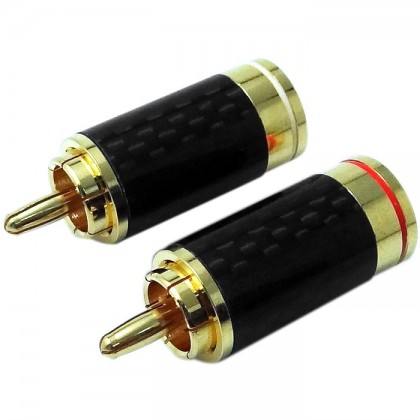 W&M Audio CS-315G Connecteurs RCA Carbone plaqués Or (x2) Ø6.5mm