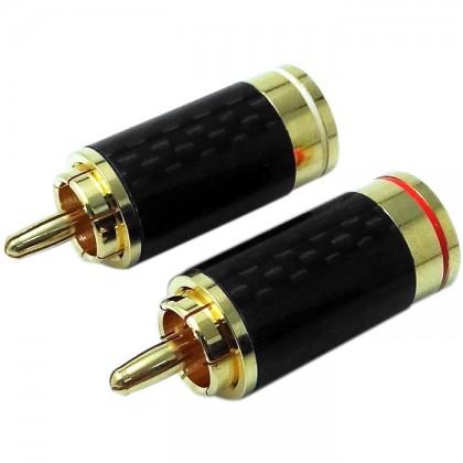 W&M Audio CS-315G Connecteurs RCA Carbone plaqués Or (x2) Ø6.5mm