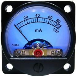 TEK Round Vumeter ampermeter blue Ø 34 mm