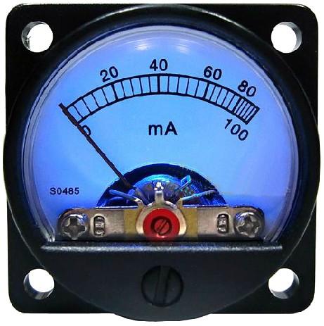 TEK Vumétre Rond Ampèremètre bleu 60/100mA Ø 34 mm