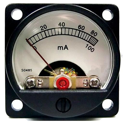 TEK Vumétre Rond Ampèremétre blanc 60/100mA Ø34mm