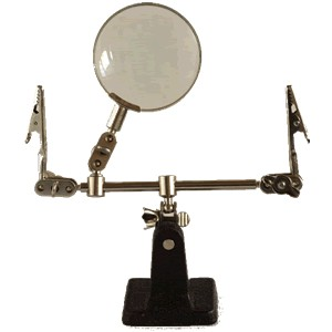Adjustable third hand with magnifying glass