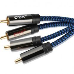 CYK Câble de Modulation RCA-RCA Cuivre OFC Plaqué Or (La paire) 3m