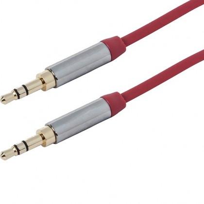 Câble Jack 3.5mm vers Jack 3.5mm Stéréo plaqué Or Rouge 3.0m
