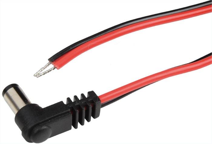 Câble d'alimentation Jack DC coudé 5.5/2.5mm 2m