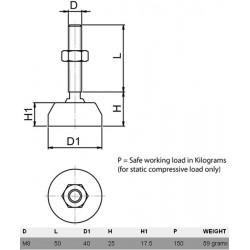 Pied à visser antivibratoire 30mm M8
