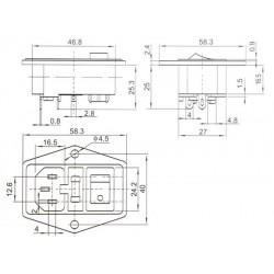 Embase IEC Cuivre plaqué Or avec porte fusible