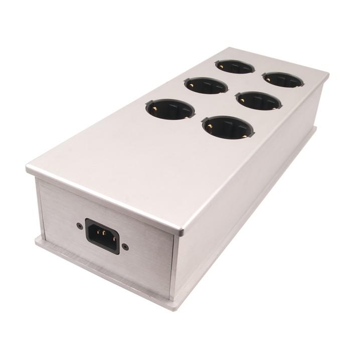 AUDIOPHONICS MPC6 Distributeur Secteur Aluminium 6 Ports Plaqué Or Argent