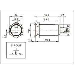 Bistable Inox Switch Blue LED circle 250V 5A Ø19mm