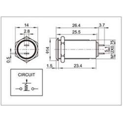 Interrupteur INOX Bistable 36V 2A Ø12mm