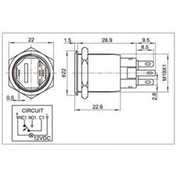 Interrupteur INOX Cercle Rouge 250V 5A Ø19mm