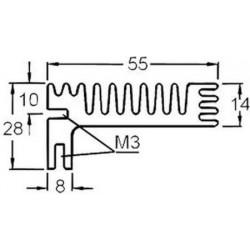 Radiateur dissipateur thermique anodisé Noir 94x55x28mm