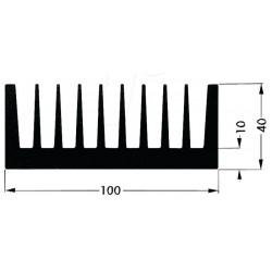 Radiateur dissipateur thermique anodisé Noir 100x50x40mm