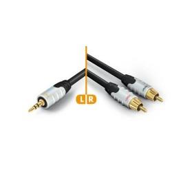 HICON Ambience Series Câble de Modulation Jack 3.5mm vers 2 x RCA Plaqué Or 24K 3.0m