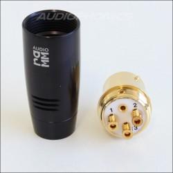 Ramm AUDIO Connecteur XLR femelle 3 pôles Cuivre pur plaqué Or Ø 11mm (L'unité)