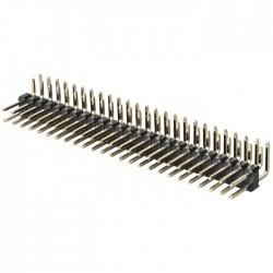 Connecteur Barrette 2.54mm Mâle Coudé Sécable 2x25 Pôles 5.5mm (Unité)