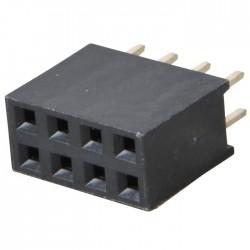 Connecteur Barrette Droit Femelle / Mâle 2x4 Pins Écartement 2.54mm
