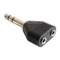 Adapter Jack 6.35mm Male Stereo to 2x Jack 3.5mm Female Stereo