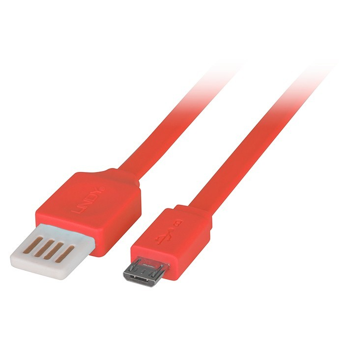 LINDY Câble USB plat Easy Fit USB-A réversible vers micro USB-B 2.0 Orange 2m