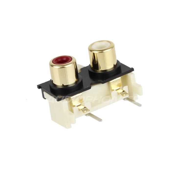 Monacor T-720G Embase horizontal RCA pour circuits imprimés