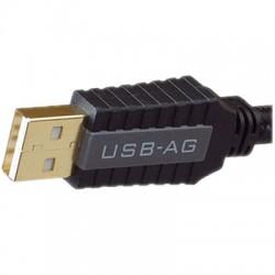PANGEA USB-AG Câble USB-A Male/USB-B Male 2.0 Argent pur plaqué Or 24k 1m
