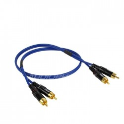 SOMMERCABLE ONYX 2025 Câble de Modulation Plaqué Or RCA-RCA Bleu 0.5m