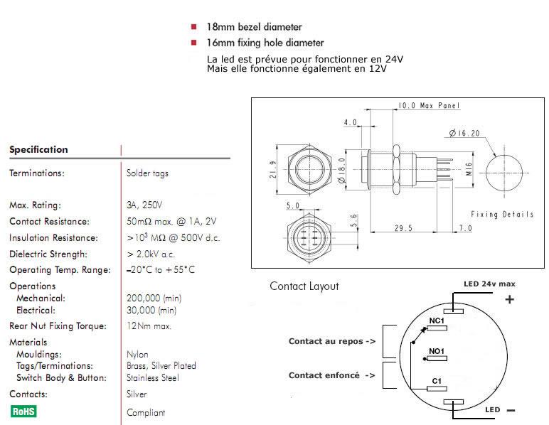 Interrupteur inox argent Cercle lumineux jaune 250V 3A Ø16mm