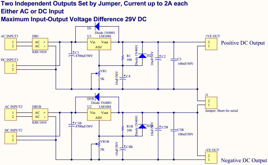 Amc Kit Dual Regulated Power Supply 1 5v To 30vdc 5a Lm1084 Audiophonics