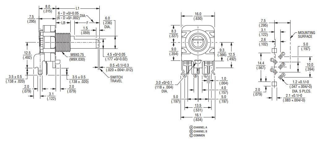 BOURNS PEC16 Encodeur Numérique Rotatif 12 positions