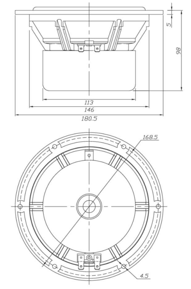 dayton audio rs180s-8 r u00e9f u00e9rence m u00e9dium grave blind u00e9 8 ohm  u00d818cm