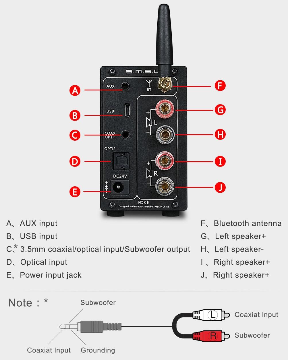 Smsl Ad18 V3 1 Amplificateur Fda Nfc Tas5342a 2x 40w
