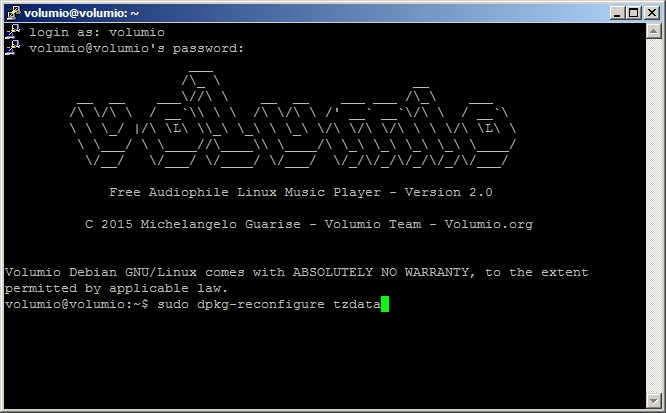 Set the timezone on your Raspberry Pi running on Volumio