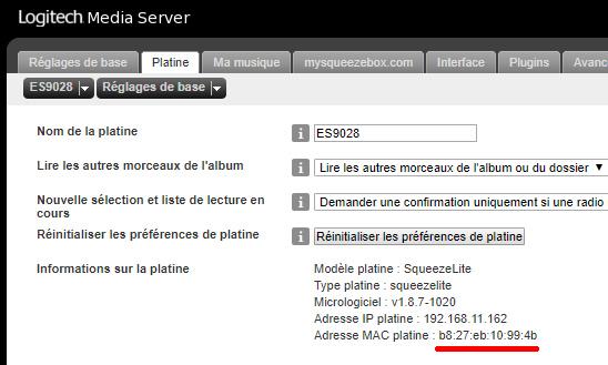LMS Player MAC address
