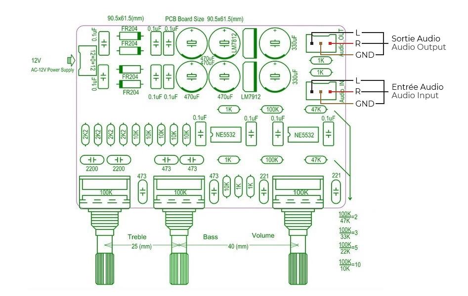 Schéma Module préamplificateur / atténuateur avec contrôlé de tonalité DIP8