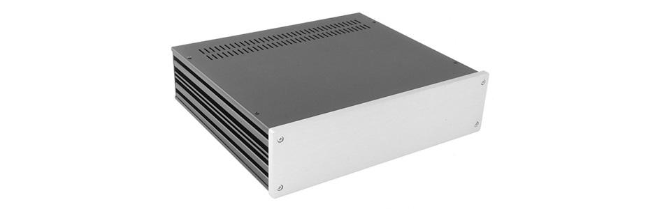 Boîtier Aluminium 80 x 330 x 280mm Noir / Argent