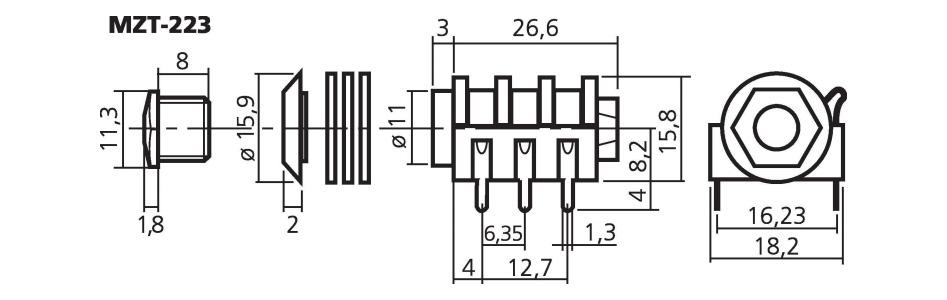 Monacor MZT-223 Embase Jack 6.35mm Stéréo pour CI