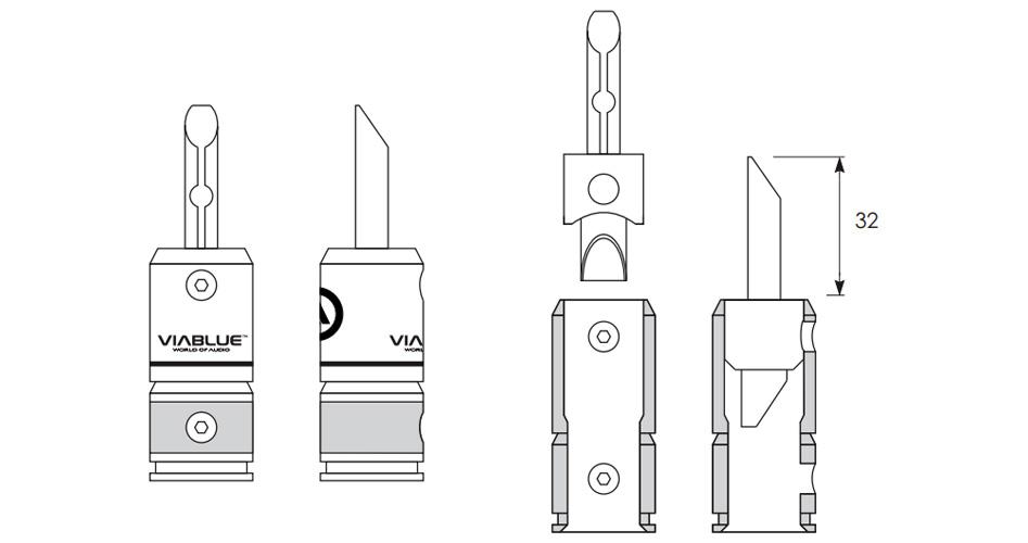 Viablue T6s Fiches Banane Plaqué Or Ø9.5mm (Set x4)