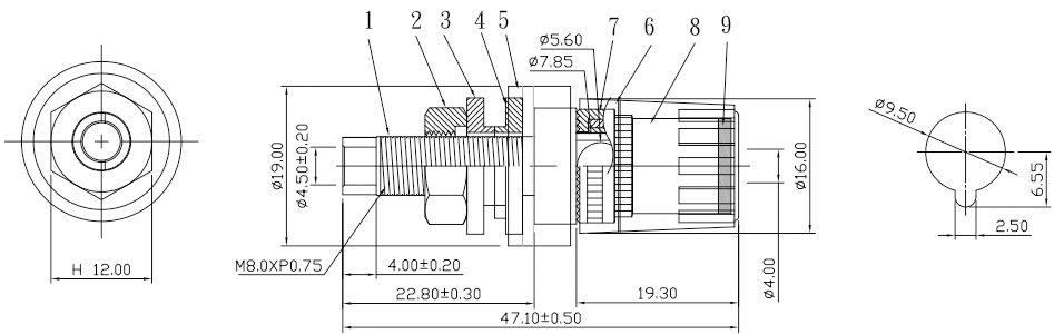 Elecaudio BP-206 Bornier Isolé Acrylique Plaqué Or à Souder Ø19mm x 47mm (Noir)